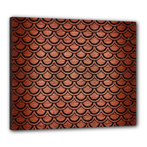 Scales2 Black Marble & Copper Brushed Metal (r) Canvas 24  X 20  (stretched) by trendistuff