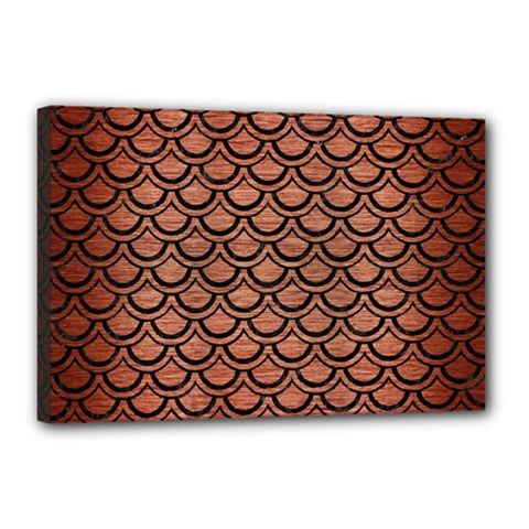 Scales2 Black Marble & Copper Brushed Metal (r) Canvas 18  X 12  (stretched) by trendistuff