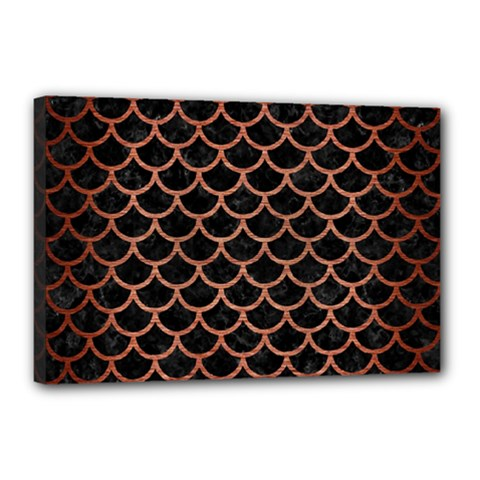 Scales1 Black Marble & Copper Brushed Metal Canvas 18  X 12  (stretched)