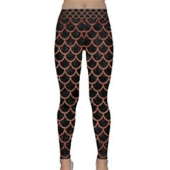 Scales1 Black Marble & Copper Brushed Metal Classic Yoga Leggings by trendistuff