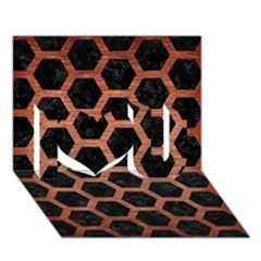 Hexagon2 Black Marble & Copper Brushed Metal I Love You 3d Greeting Card (7x5)