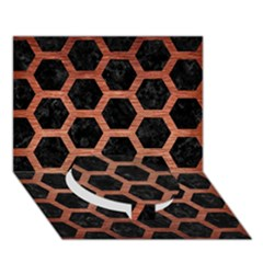 Hexagon2 Black Marble & Copper Brushed Metal Circle Bottom 3d Greeting Card (7x5)