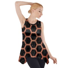 Hexagon2 Black Marble & Copper Brushed Metal Side Drop Tank Tunic