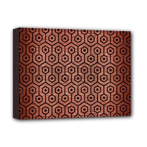 Hexagon1 Black Marble & Copper Brushed Metal (r) Deluxe Canvas 16  X 12  (stretched)  by trendistuff