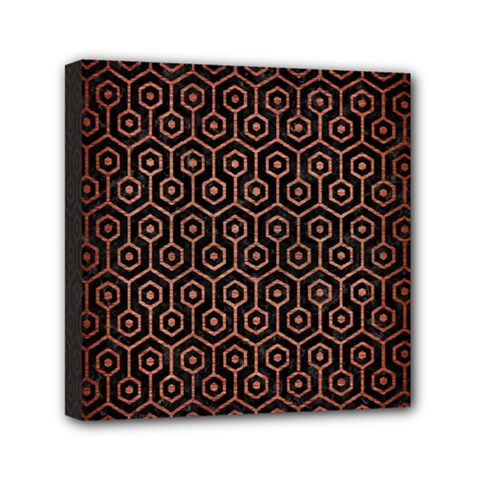 Hexagon1 Black Marble & Copper Brushed Metal Mini Canvas 6  X 6  (stretched) by trendistuff