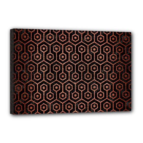 Hexagon1 Black Marble & Copper Brushed Metal Canvas 18  X 12  (stretched) by trendistuff