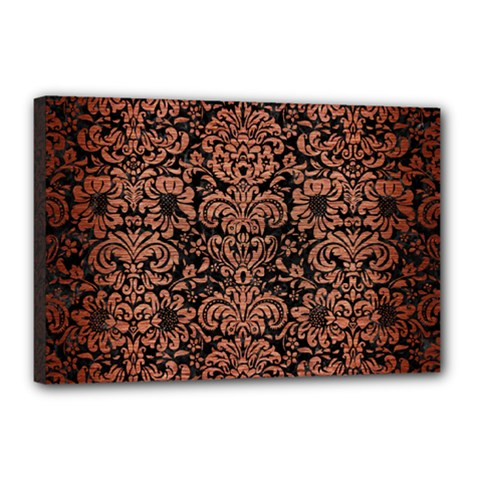 Damask2 Black Marble & Copper Brushed Metal Canvas 18  X 12  (stretched) by trendistuff