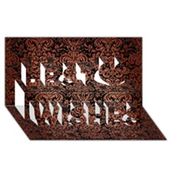 Damask2 Black Marble & Copper Brushed Metal Best Wish 3d Greeting Card (8x4)