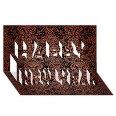 Damask2 Black Marble & Copper Brushed Metal Happy New Year 3d Greeting Card (8x4)