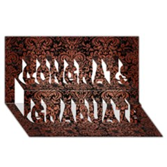 Damask2 Black Marble & Copper Brushed Metal Congrats Graduate 3d Greeting Card (8x4)