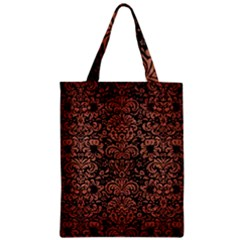Damask2 Black Marble & Copper Brushed Metal Zipper Classic Tote Bag by trendistuff