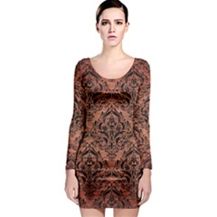 Damask1 Black Marble & Copper Brushed Metal (r) Long Sleeve Bodycon Dress by trendistuff
