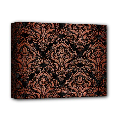 Damask1 Black Marble & Copper Brushed Metal Deluxe Canvas 14  X 11  (stretched) by trendistuff