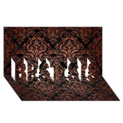 Damask1 Black Marble & Copper Brushed Metal Best Sis 3d Greeting Card (8x4)