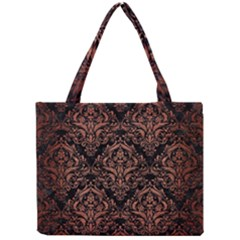 Damask1 Black Marble & Copper Brushed Metal Mini Tote Bag by trendistuff