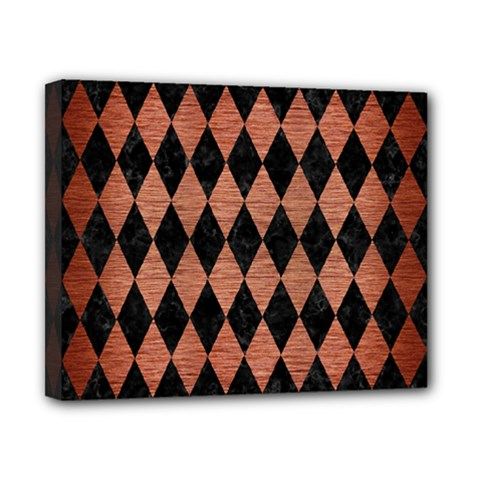 Diamond1 Black Marble & Copper Brushed Metal Canvas 10  X 8  (stretched) by trendistuff