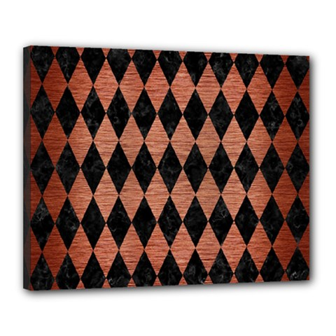 Diamond1 Black Marble & Copper Brushed Metal Canvas 20  X 16  (stretched) by trendistuff