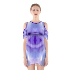 Beautiful Blue Purple Pastel Pattern, Cutout Shoulder Dress by Costasonlineshop
