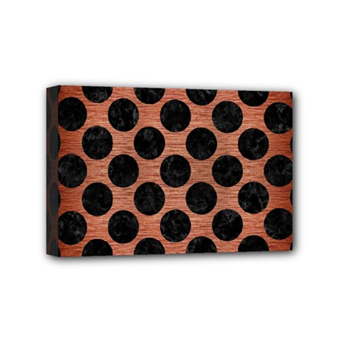 Circles2 Black Marble & Copper Brushed Metal (r) Mini Canvas 6  X 4  (stretched) by trendistuff