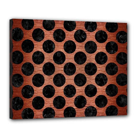 Circles2 Black Marble & Copper Brushed Metal (r) Canvas 20  X 16  (stretched) by trendistuff