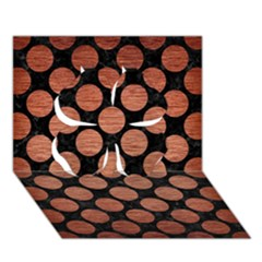 Circles2 Black Marble & Copper Brushed Metal Clover 3d Greeting Card (7x5) by trendistuff