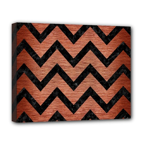 Chevron9 Black Marble & Copper Brushed Metal (r) Deluxe Canvas 20  X 16  (stretched) by trendistuff