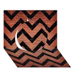 Chevron9 Black Marble & Copper Brushed Metal (r) Circle 3d Greeting Card (7x5) by trendistuff