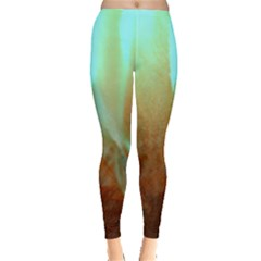 Floating Teal And Orange Peach Leggings  by timelessartoncanvas