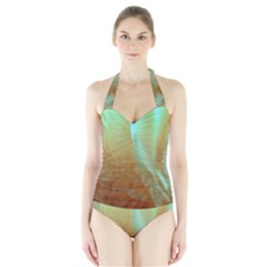 Floating Teal And Orange Peach Women s Halter One Piece Swimsuit by timelessartoncanvas