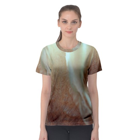 Floating Subdued Orange And Teal Women s Sport Mesh Tee by timelessartoncanvas