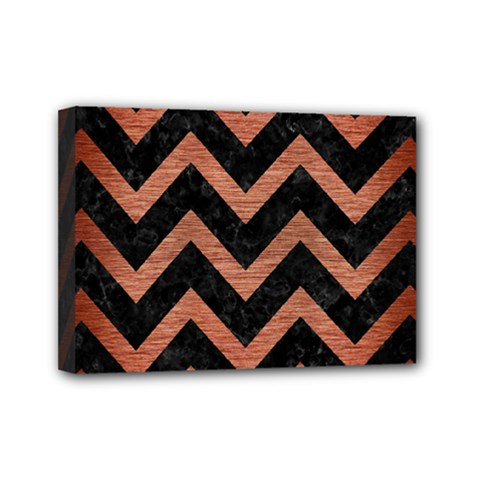 Chevron9 Black Marble & Copper Brushed Metal Mini Canvas 7  X 5  (stretched) by trendistuff