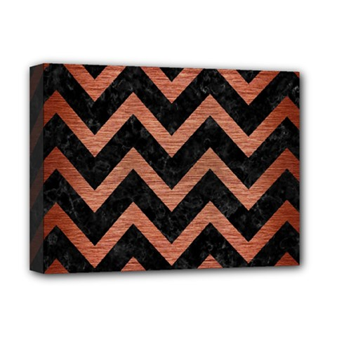Chevron9 Black Marble & Copper Brushed Metal Deluxe Canvas 16  X 12  (stretched)  by trendistuff