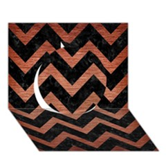 Chevron9 Black Marble & Copper Brushed Metal Circle 3d Greeting Card (7x5) by trendistuff