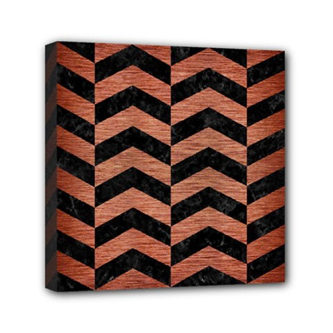 Chevron2 Black Marble & Copper Brushed Metal Mini Canvas 6  X 6  (stretched) by trendistuff