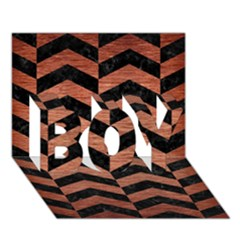 Chevron2 Black Marble & Copper Brushed Metal Boy 3d Greeting Card (7x5) by trendistuff