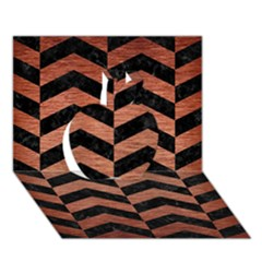 Chevron2 Black Marble & Copper Brushed Metal Apple 3d Greeting Card (7x5) by trendistuff
