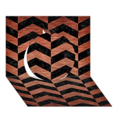 Chevron2 Black Marble & Copper Brushed Metal Circle 3d Greeting Card (7x5) by trendistuff