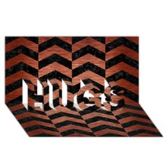 Chevron2 Black Marble & Copper Brushed Metal Hugs 3d Greeting Card (8x4) by trendistuff