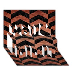 Chevron2 Black Marble & Copper Brushed Metal You Did It 3d Greeting Card (7x5) by trendistuff