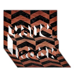Chevron2 Black Marble & Copper Brushed Metal You Rock 3d Greeting Card (7x5) by trendistuff