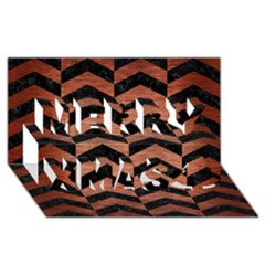 Chevron2 Black Marble & Copper Brushed Metal Merry Xmas 3d Greeting Card (8x4) by trendistuff