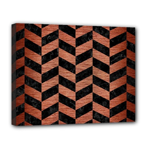 Chevron1 Black Marble & Copper Brushed Metal Canvas 14  X 11  (stretched) by trendistuff