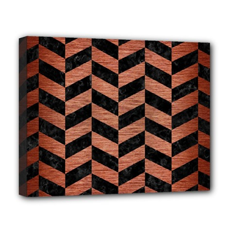 Chevron1 Black Marble & Copper Brushed Metal Deluxe Canvas 20  X 16  (stretched) by trendistuff