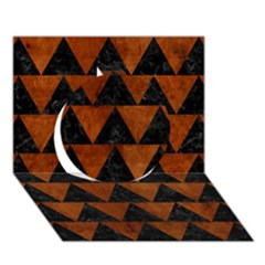 Triangle2 Black Marble & Brown Burl Wood Circle 3d Greeting Card (7x5) by trendistuff