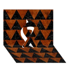 Triangle2 Black Marble & Brown Burl Wood Ribbon 3d Greeting Card (7x5)