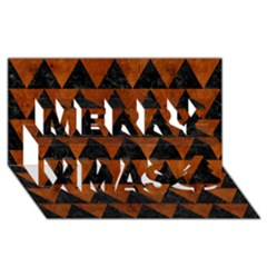 Triangle2 Black Marble & Brown Burl Wood Merry Xmas 3d Greeting Card (8x4) by trendistuff
