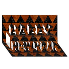 Triangle2 Black Marble & Brown Burl Wood Happy New Year 3d Greeting Card (8x4) by trendistuff