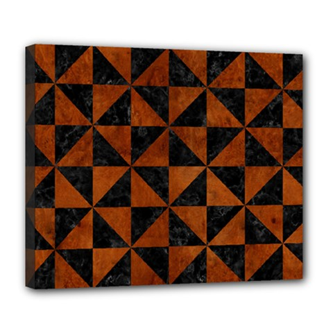 Triangle1 Black Marble & Brown Burl Wood Deluxe Canvas 24  X 20  (stretched) by trendistuff