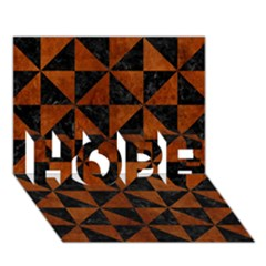 Triangle1 Black Marble & Brown Burl Wood Hope 3d Greeting Card (7x5)