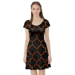 Tile1 Black Marble & Brown Burl Wood Short Sleeve Skater Dress